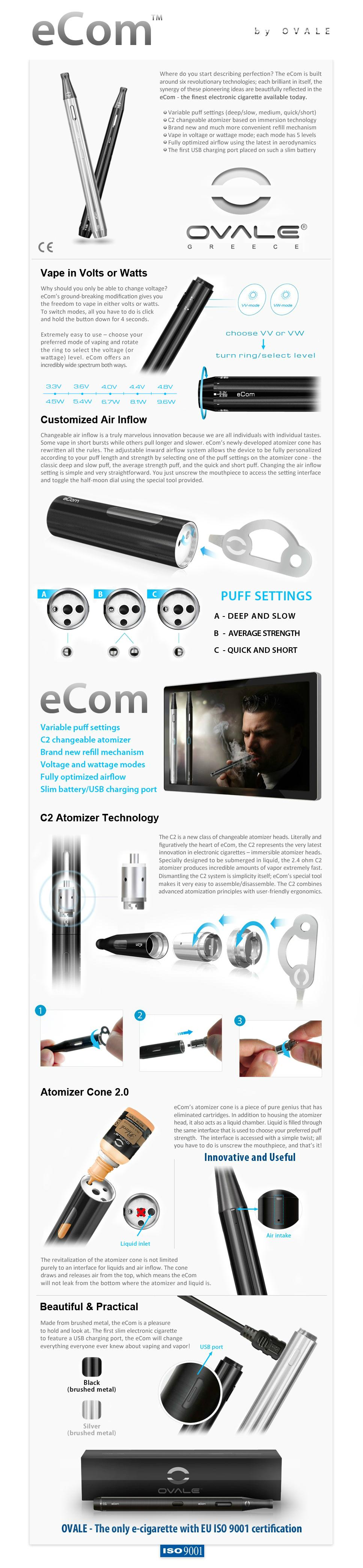 ηλεκτρονικό τσιγάρο, κόψιμο καπνίσματος, ovale, ecom