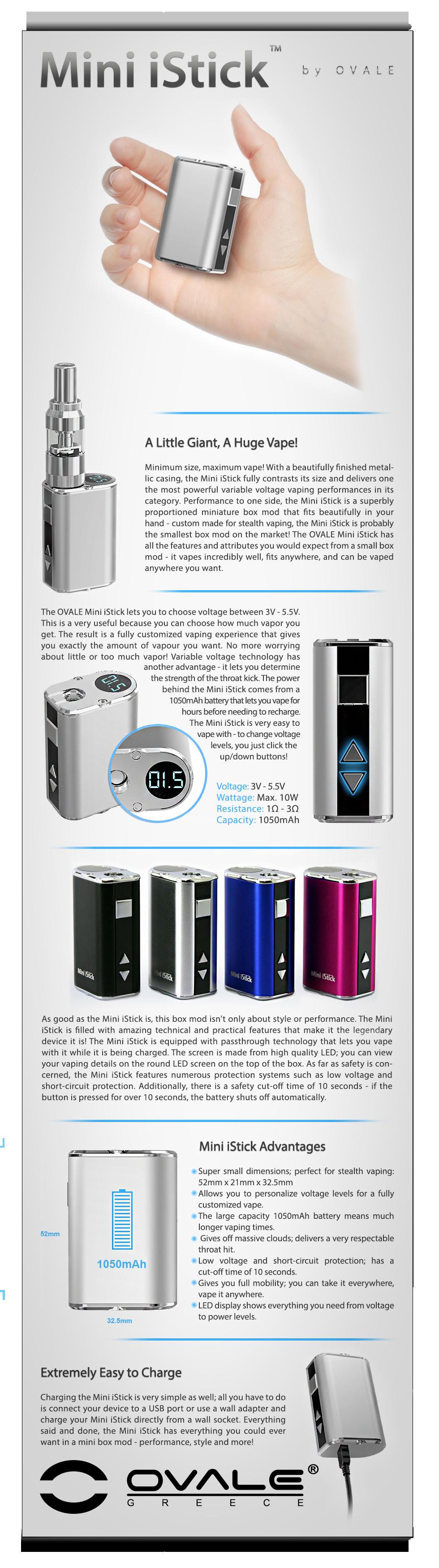 ηλεκτρονικό τσιγάρο, κόψιμο καπνίσματος, ovale, eleaf, istick, istick mini