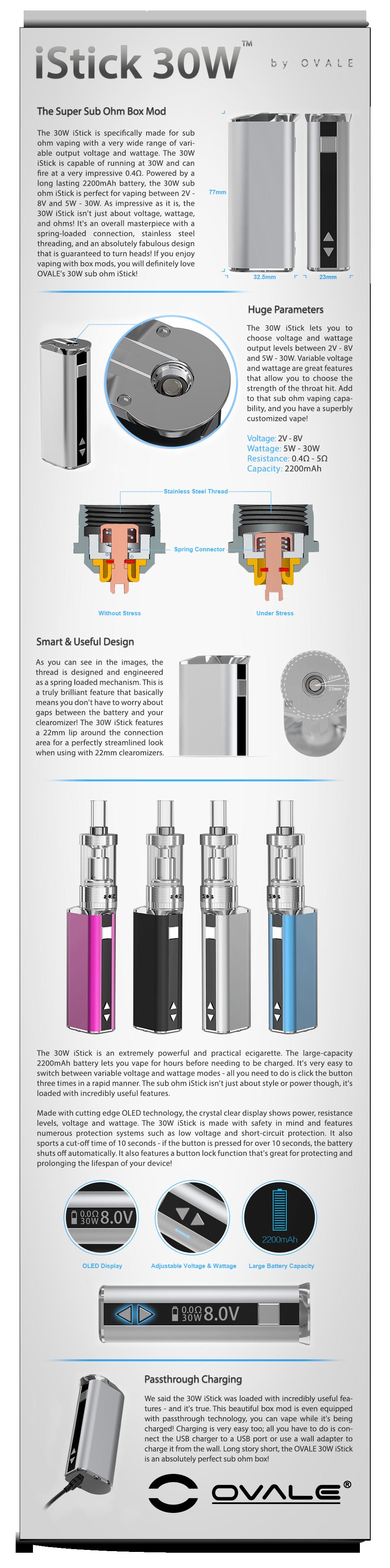 ηλεκτρονικό τσιγάρο, sub ohm, istick, κόψιμο καπνίσματος, ovale, eleaf, 30w