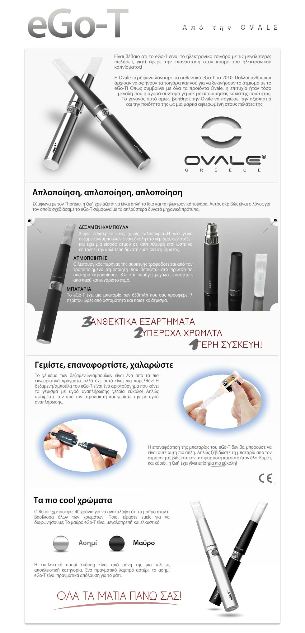 ηλεκτρονικό τσιγάρο, υγρό αναπλήρωσης ηλεκτρονικού τσιγάρου, κόψιμο καπνίσματος, ovale, joyetech, ego